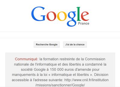 Amende infligée à Google par la CNIL
