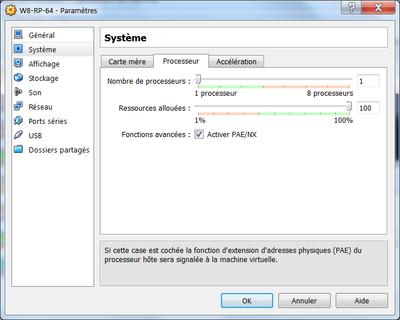 Configuration du processeur VirtualBox pour W8