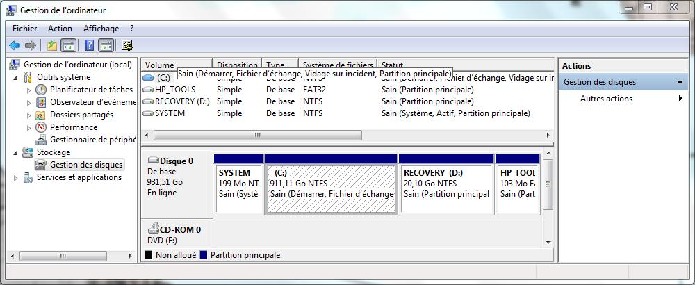 HP pavilion dv6 - Partitionnement du disque